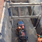 Shown here is the casing being installed for the deep sanitary sewer crossing on the east side of Wisconsin St.